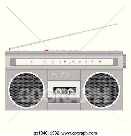 Eps illustration boombox radio. 80's clipart stereo