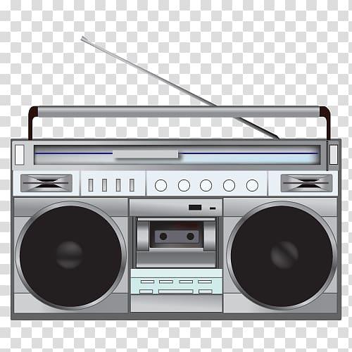 80's clipart stereo. Gray boombox illustration radio
