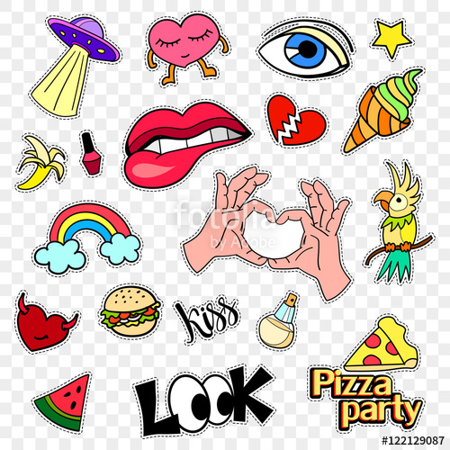 Fashion patch badges stickers. 90s clipart style