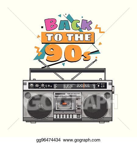 80's clipart tape recorder. Vector art retro style