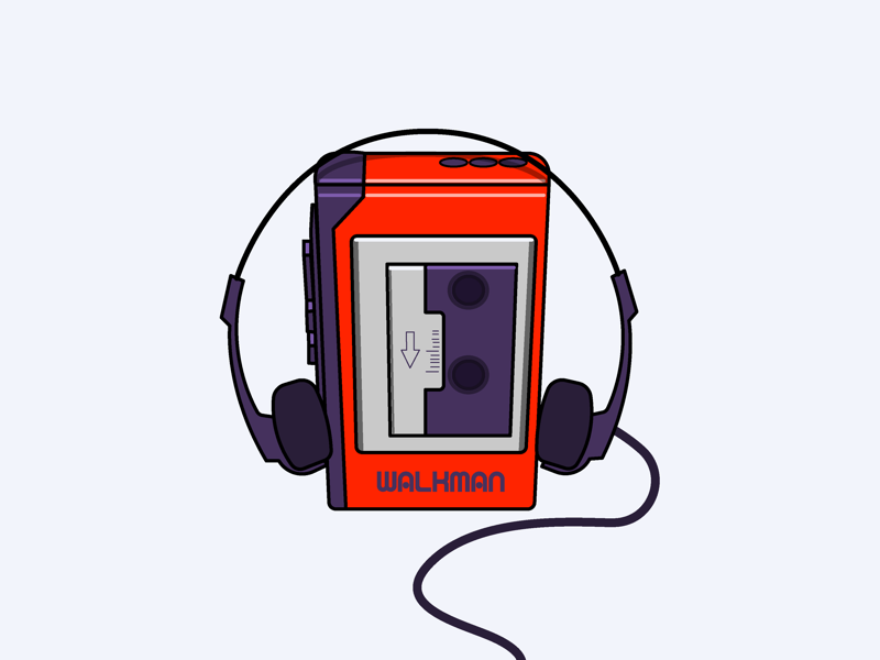 80's clipart walkman. Tape player by jared