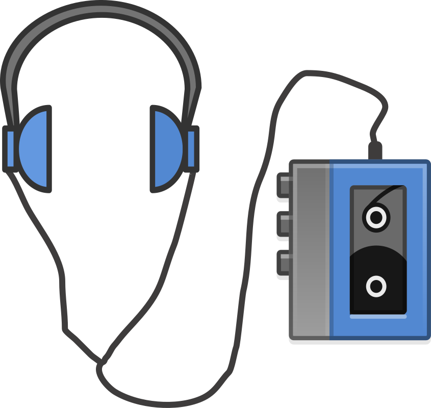 Headphones with portable tapeplayer. 80's clipart walkman