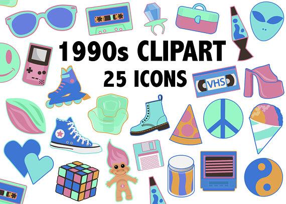 90s clipart.  s neon colors