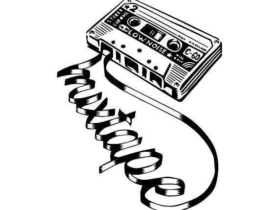 90s clipart black and white. Retro music s cassette