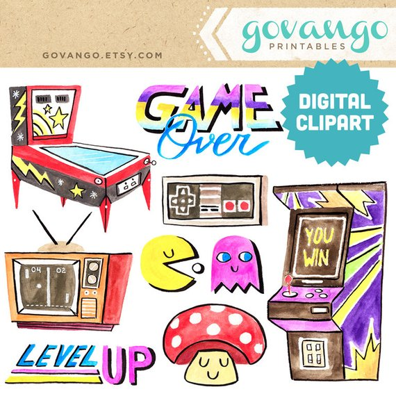 Arcade clipart pinball. Retro gamer digital instant