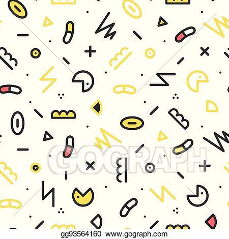 90s clipart eighty. Vector illustration memphis seamless