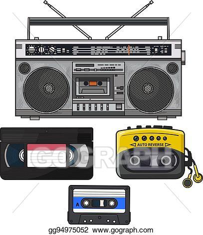 Boombox clipart music player. Vector art retro audio