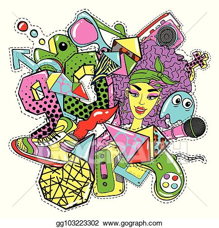 90s clipart style. Vector art colorful s