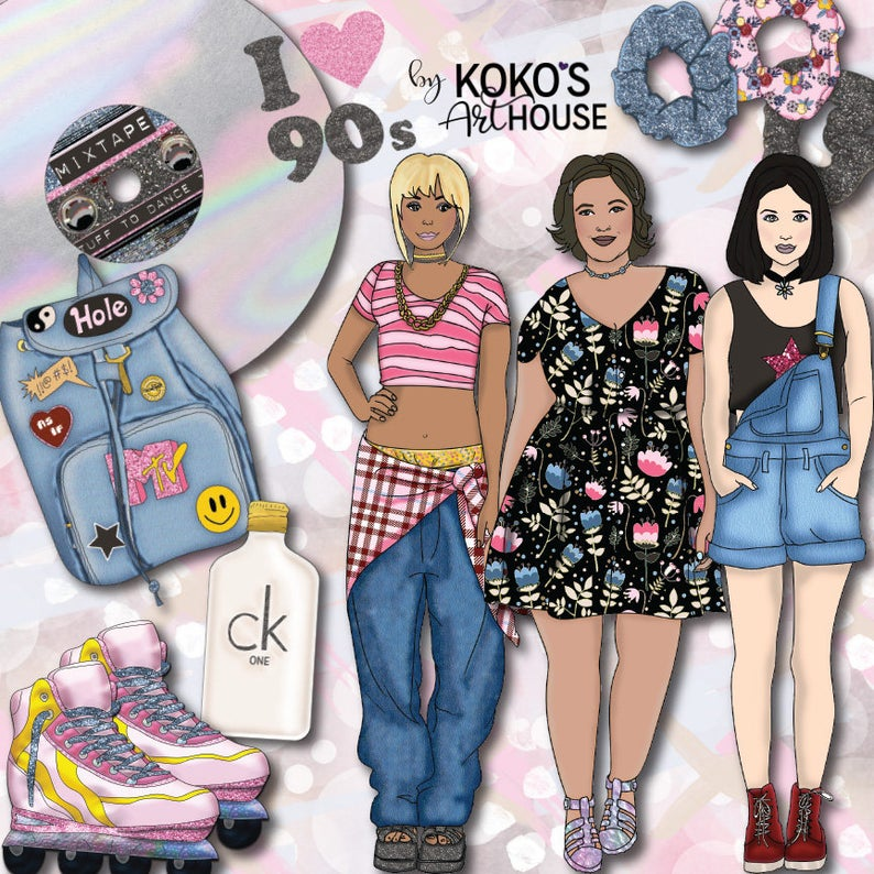90s clipart style.  s fashion girls