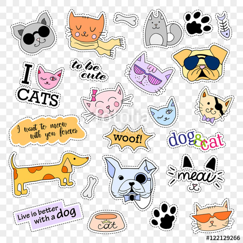 Fashion patch badges cats. 90s clipart style