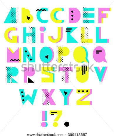 90s clipart style. Hand drawn alphabet geometric