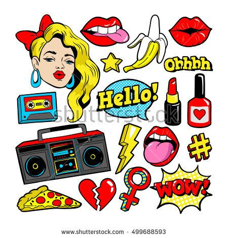 Fashion patch badges with. 90s clipart style