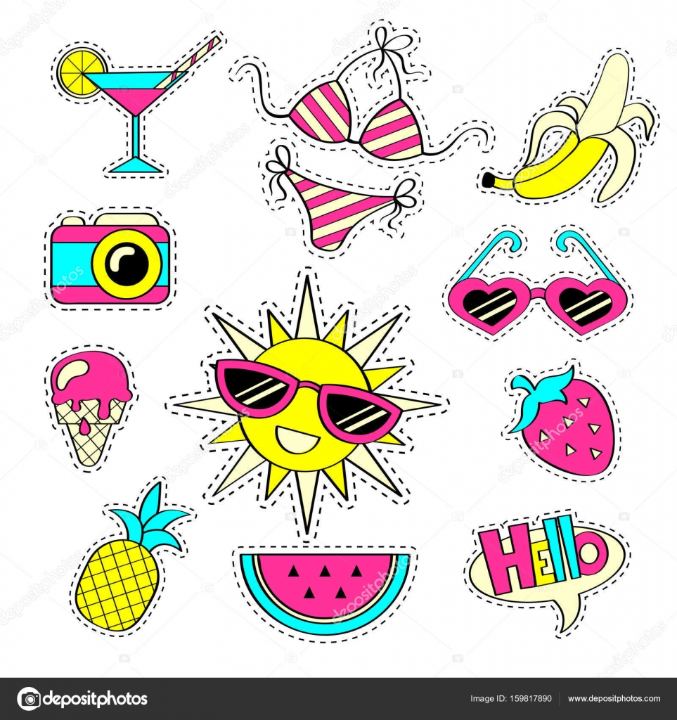 90s clipart sunglasses. Fashion girlish patch badges