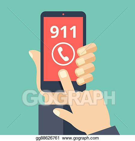 911 clipart 911 phone. Vector illustration call emergency