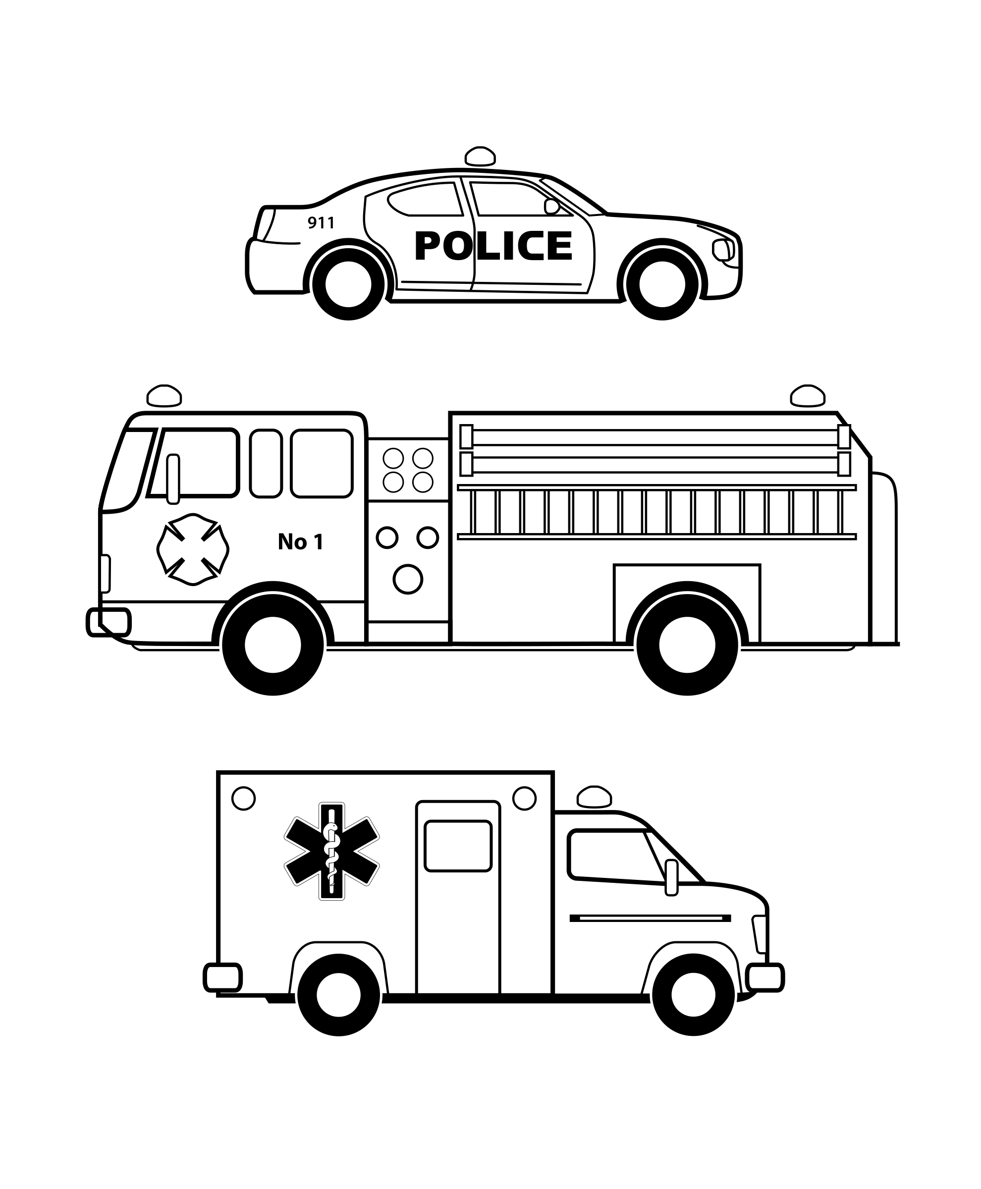Emergency clipart emergency personnel. Vehicles black and white