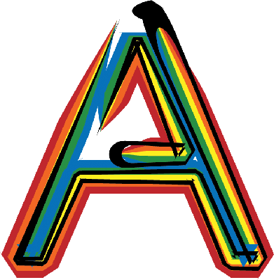 A clipart. Colorful font letter the