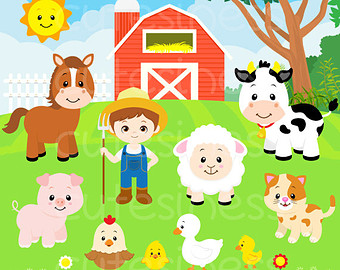 Barn clipart cartoon. Farm animals clip art