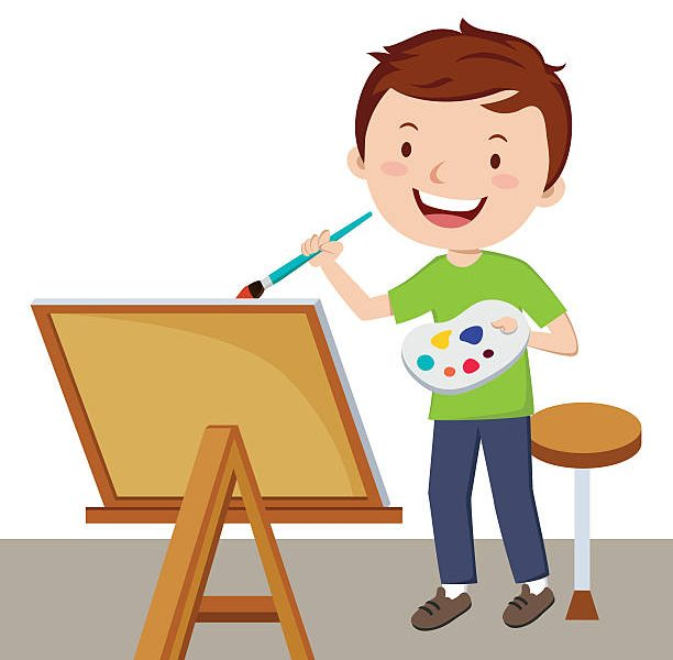 Boys clipart painting. Clip art child drawing