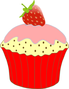 A clipart cupcake. Strawberry clip art at