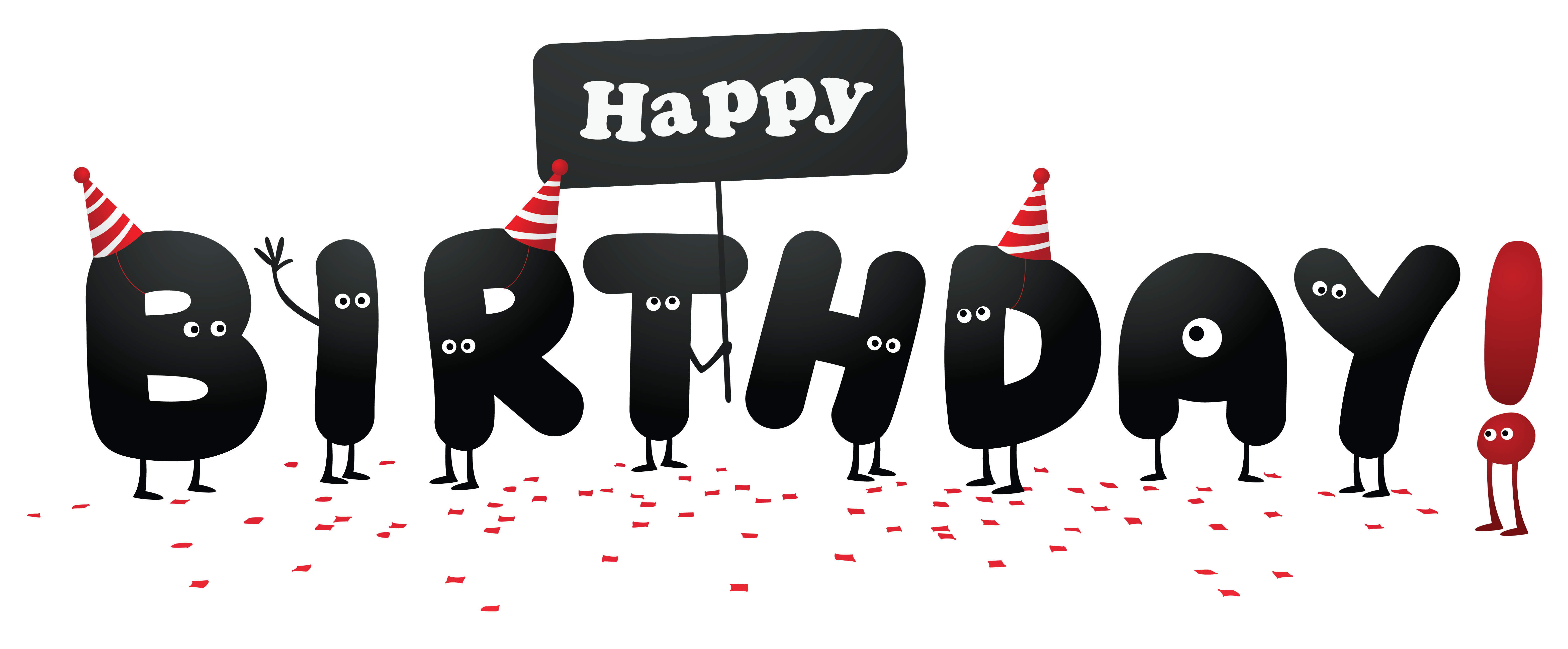 Funny without shadows picture. A clipart happy birthday