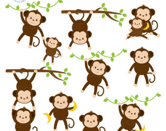 Etsy monkeys set clip. Ape clipart mother monkey