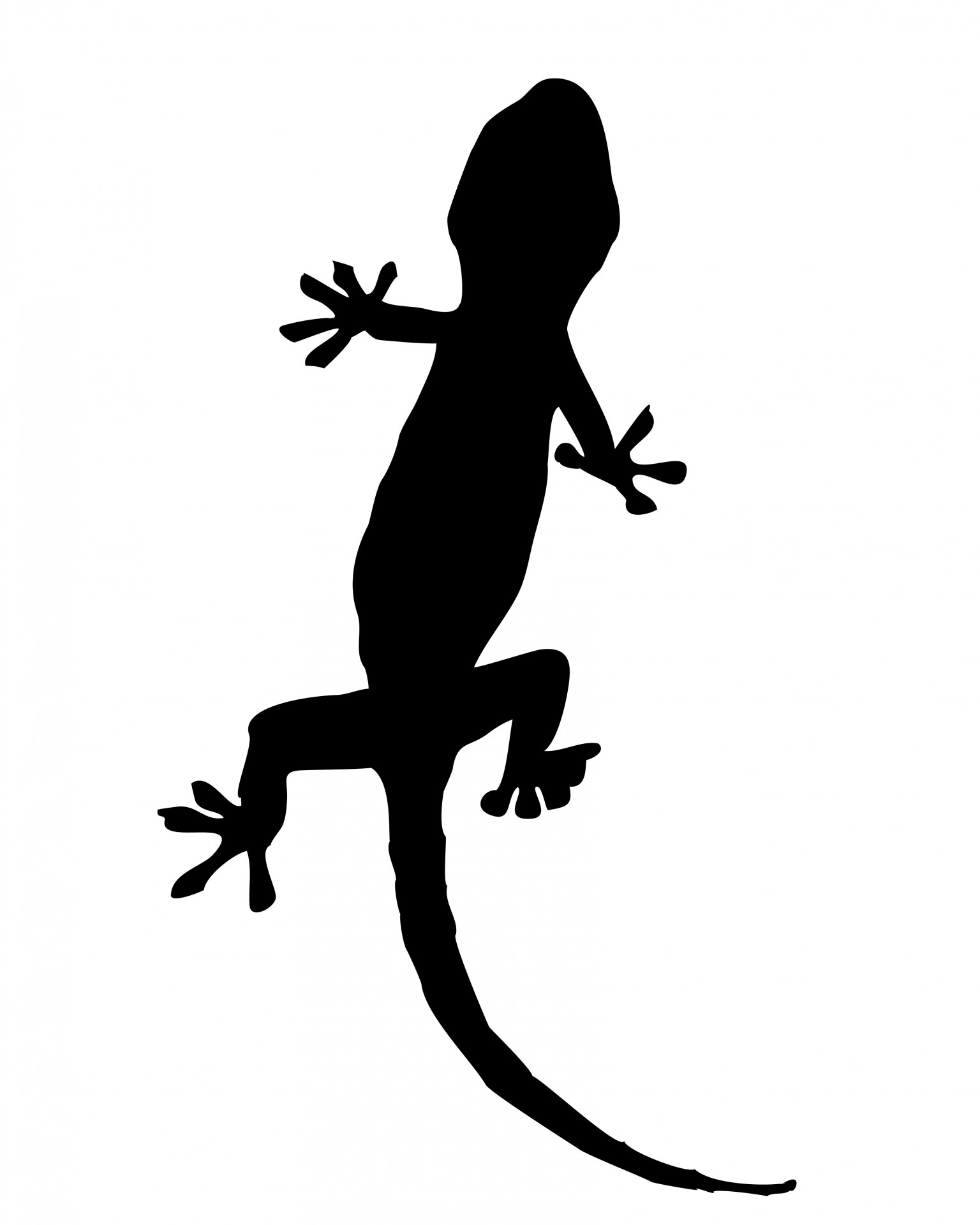 Silhouette free stock photo. Gecko clipart