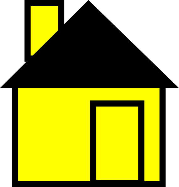 Simple house yellow clip. Home clipart animated