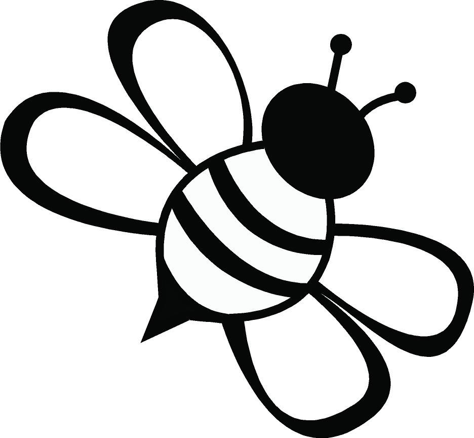 Line drawing simple best. Bee clipart silhouette