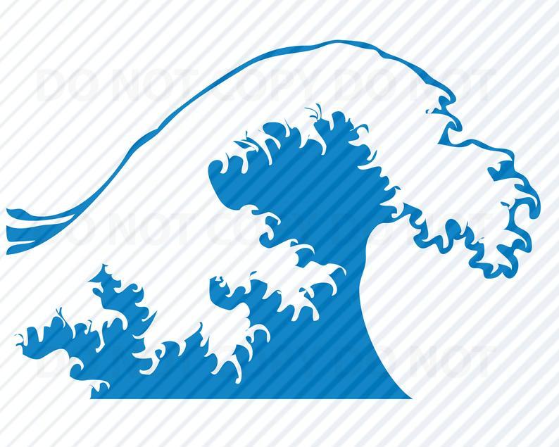 Ocean wave svg files. Clipart waves star