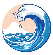 A clipart wave. Of blue ocean surf