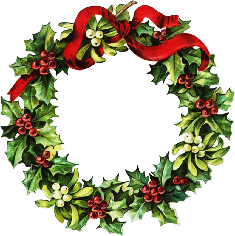 Christmas wreath clip art. Clipart door old fashioned