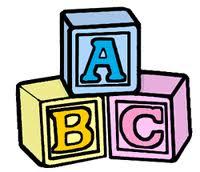 Blocks black and white. Block clipart abc