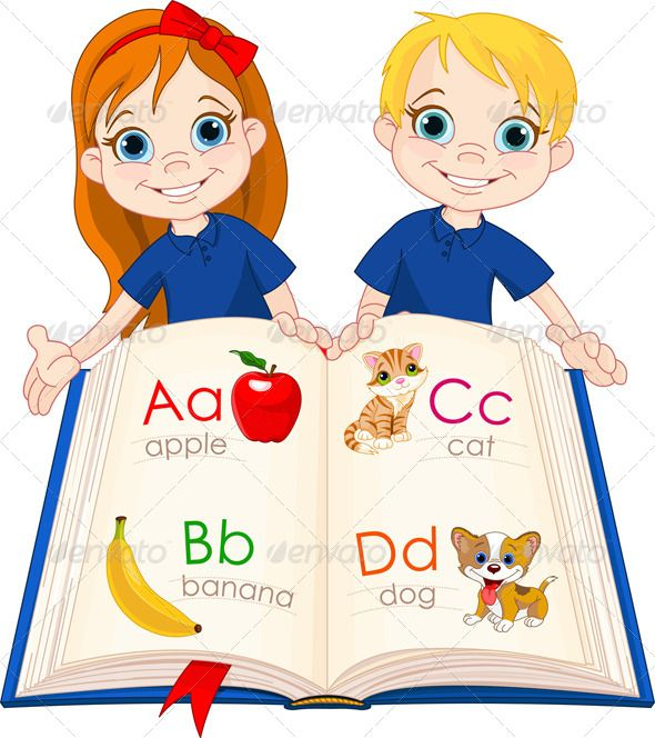 Two kids and art. Abc clipart abc book