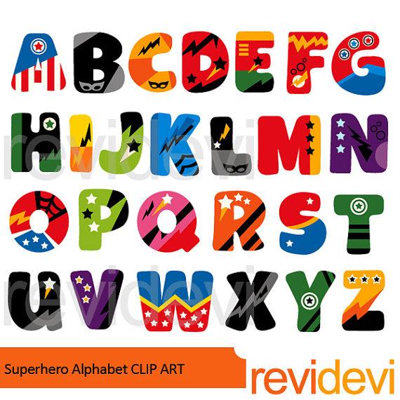 Abc clipart alphabet. Superhero clip art digital