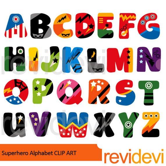 Abc clipart alphabet. Superhero big caps uppercase