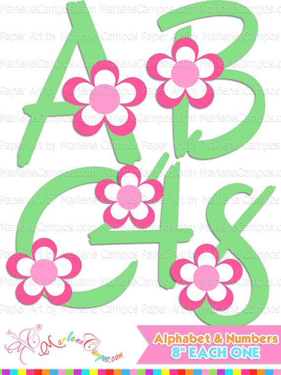 Flowers clip art letters. Abc clipart alphabet