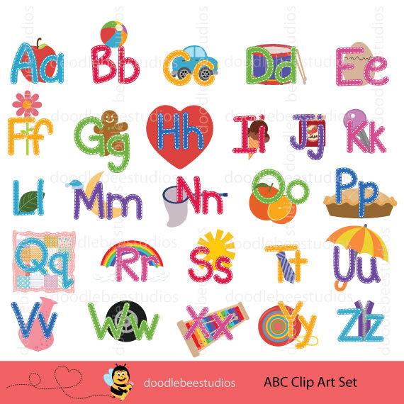 Set clip art stitched. Abc clipart alphabet