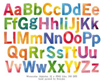 Watercolor letters hand painted. Abc clipart alphabet