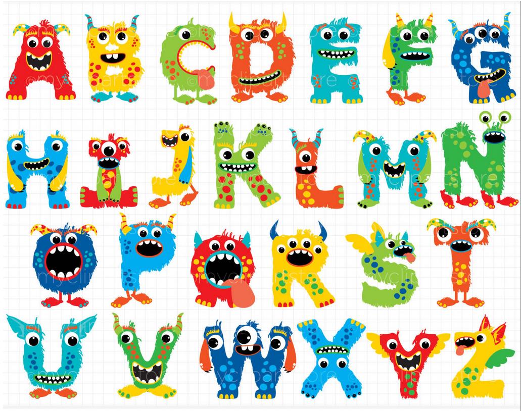 Abc clipart banner. Alphabet monster boy printable