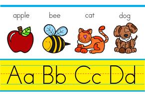 Classroom decoration alphabet sign. Abc clipart banner