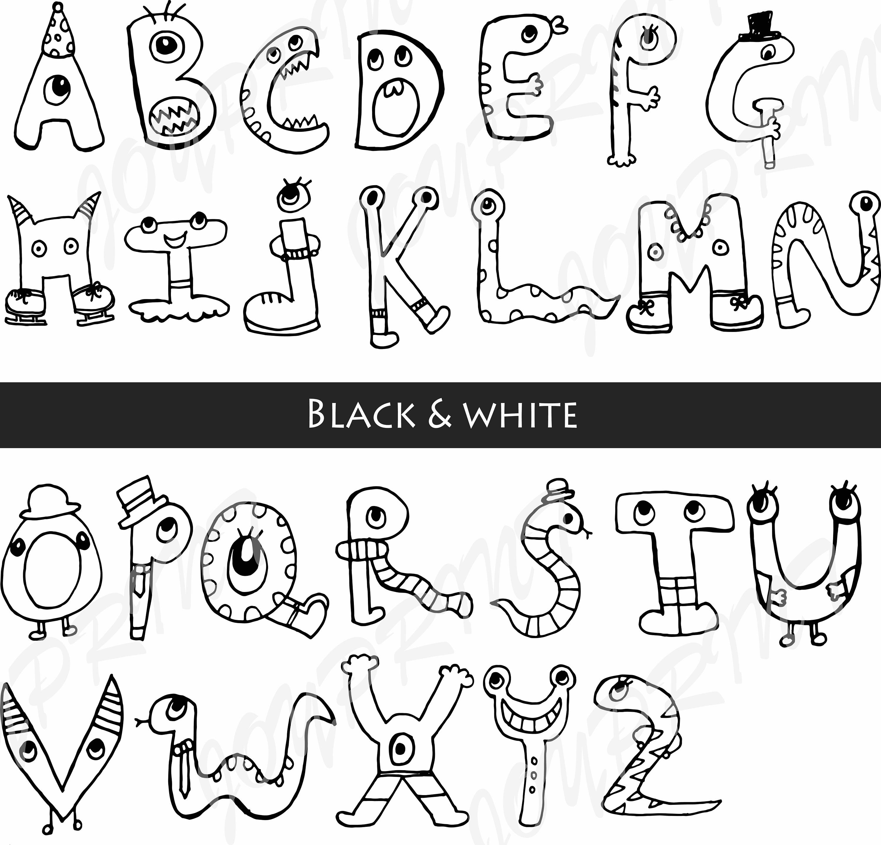 Monster graphics abc letters. Alphabet clipart black and white