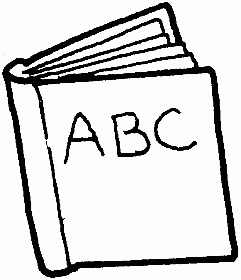 Abc clipart black and white. Closed book letters best