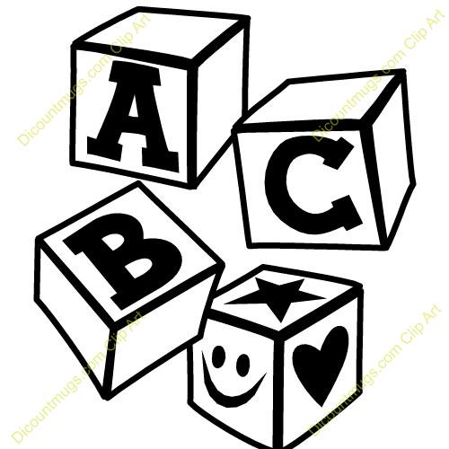 Abc clip art panda. Blocks clipart black and white