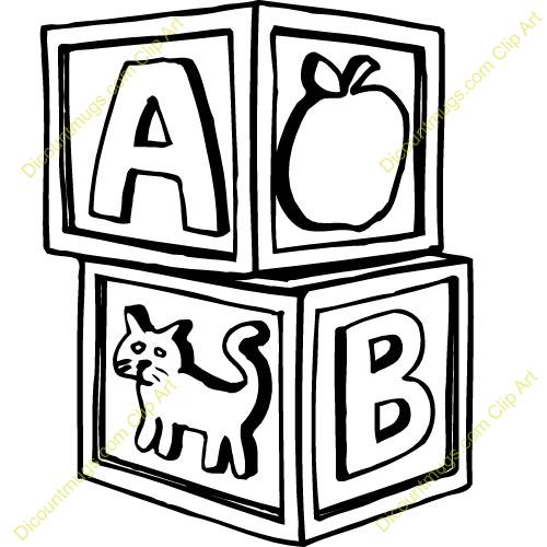 Abc black and white. Blocks clipart clip art
