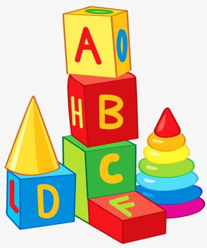 Blocks building toy game. Block clipart abc