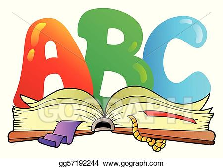Abc clipart cartoon. Vector letters with open