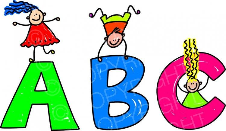 Toddler art alphabet children. Abc clipart cartoon