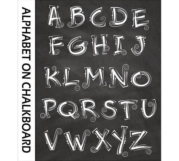 Curly alphabet clip art. Abc clipart chalkboard