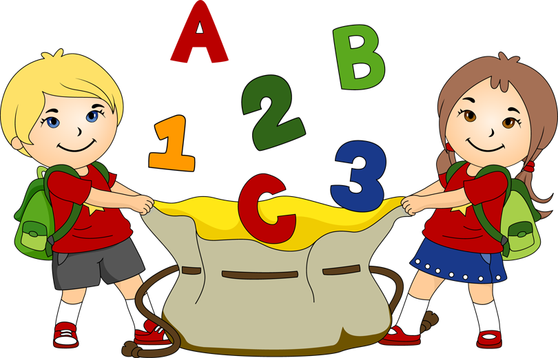Image of alphabet letter. Clipart backpack kindergarten pupil