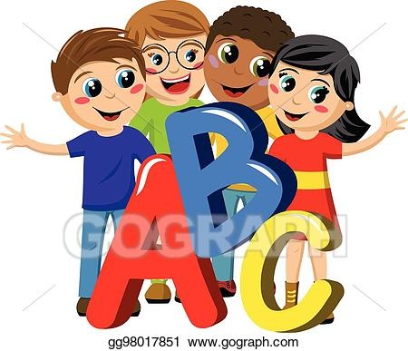 Abc clipart childrens. Vector art multicultural school